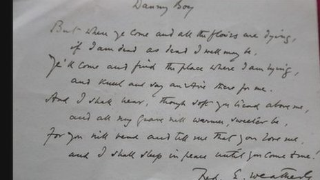 Frederic E. Weatherly 'Danny Boy' Handwritten Lyrics