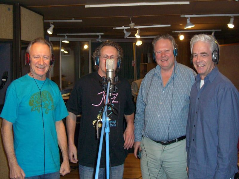 Donal Lunny, Rob, Geoff and Dave in the studio